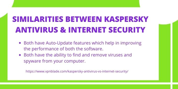 Similarities between Kaspersky Antivirus and Internet Security