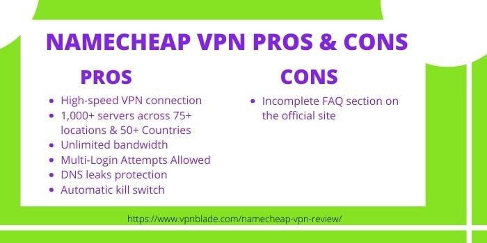 Namecheap VPN Pros & Cons
