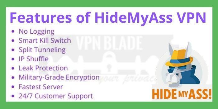 Features of HideMyAss VPN
