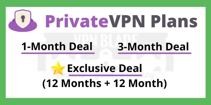 PrivateVPN Plans and discount