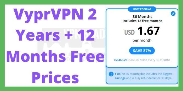 VyprVPN 2 Years + Months Free Prices